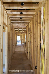 North Wing Hallway Showing Home Runs from Crawlspace on Right