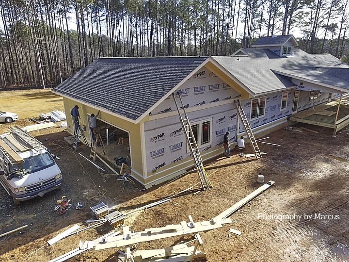 Aerial View Siding Work in Progress