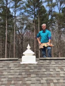 Vernon on Roof After Installing the Kalash