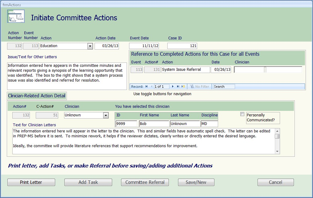 PREP-MS Enter Committee Actions form