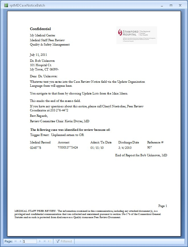Prep Ms Sample Case Review Notification Letter