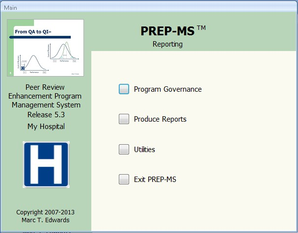 PREP-MS Reporting Main Screen