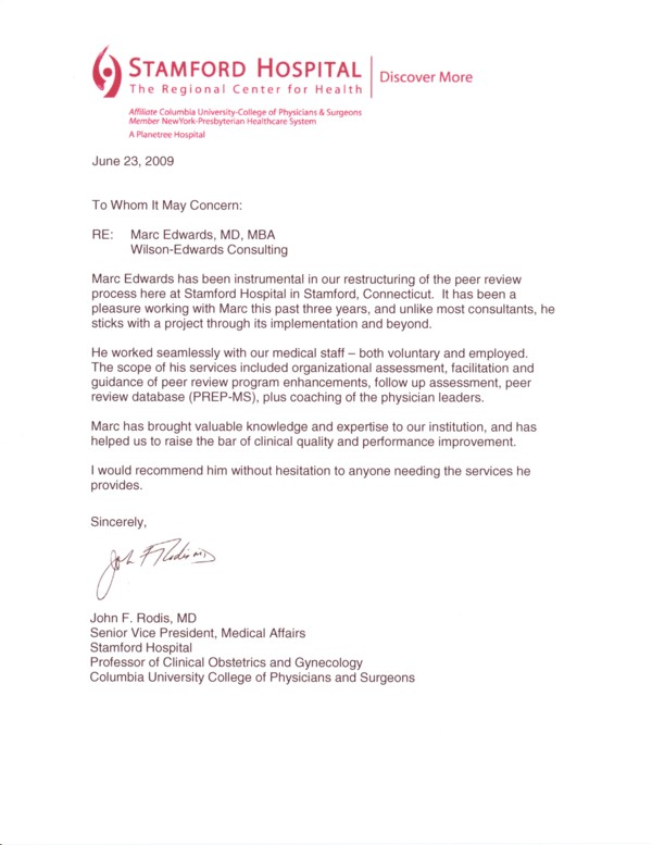 Letter of recommendation from Dr. John Rodis